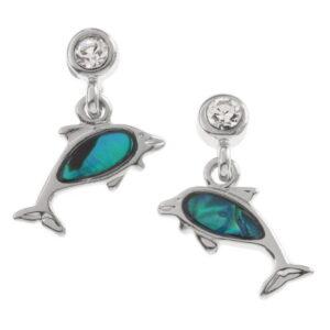 Paua Shell Dolphin Stud Earrings